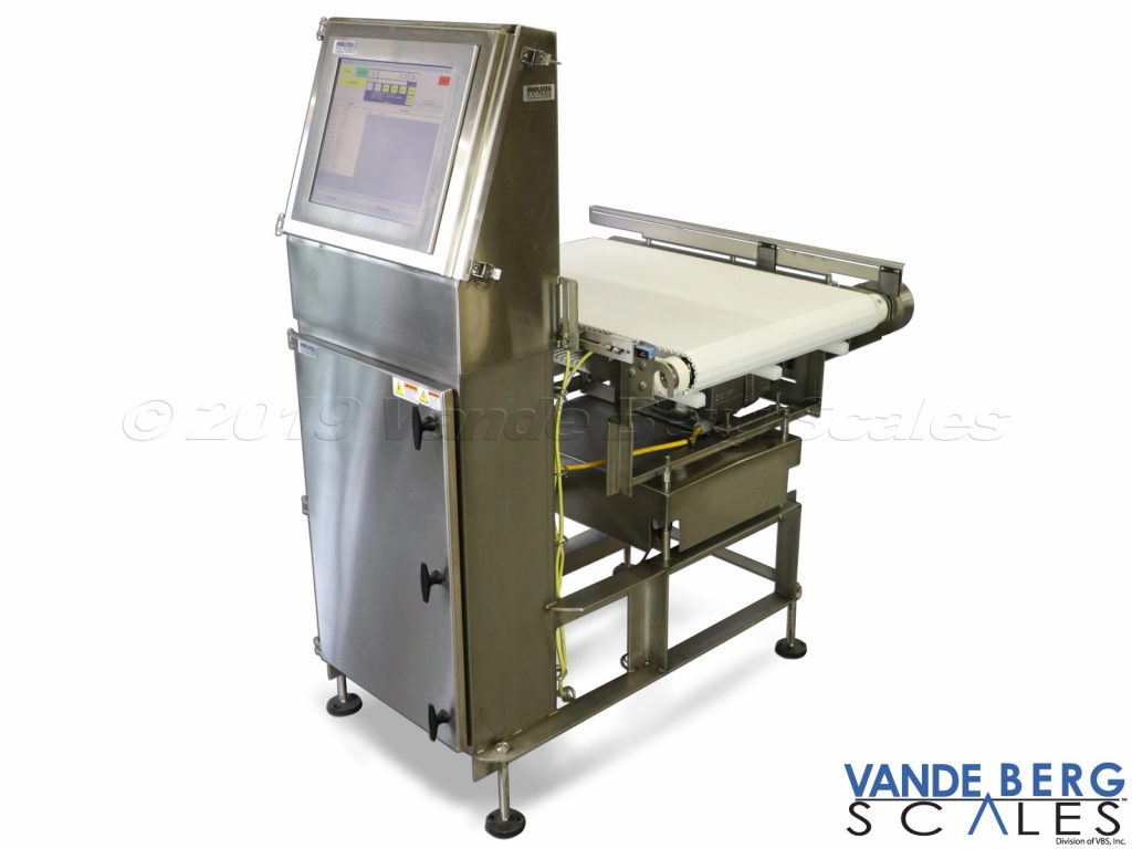 "Conveyor scale with 17"" touchscreen. Washdown rated & exports data to .csv or SQL file. Ethernet connectivity for remote data access."