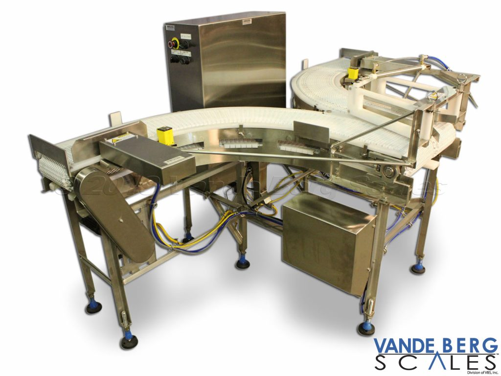 Conveyor takes a single line of product and diverts it to one of two lanes for further processing.