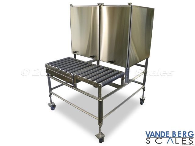 Mobile cart with two enclosures and roller top scale.