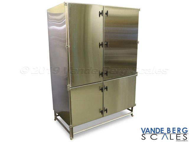 Large cabinet can hold many production floor items and keep them dry during washdown. Saves setup time since all items are on the production floor.