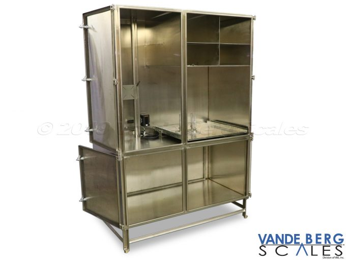 Large cabinet with many internal compartments for production floor items which must be protected from washdown.