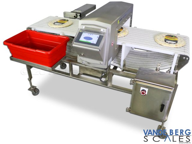 Compact & Mobile Pizza Metal Detector with divert and reject bin.