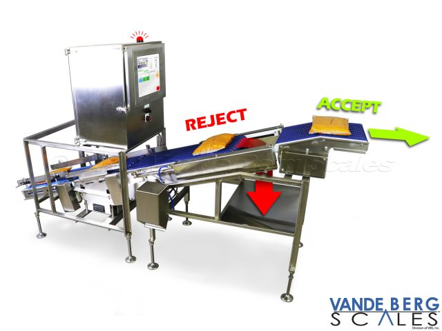 Inclined dynamic checkweigher with inline divert for out-of-weight packages