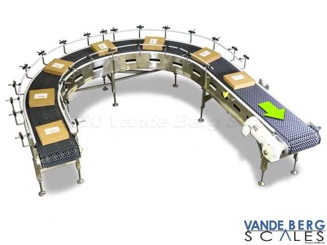 Curved Conveyor for Boxes with Adjustable Guide Rails